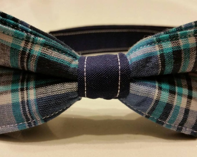 Boys Blue Plaid Bowtie