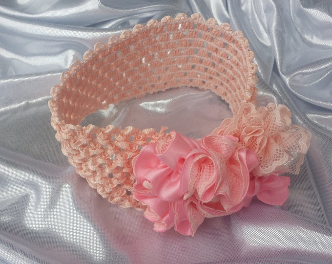 Newborn Baby Girls Princess Peach and Pink Lace Headband