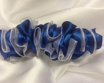 Girls Blue and White Sheer Barrette