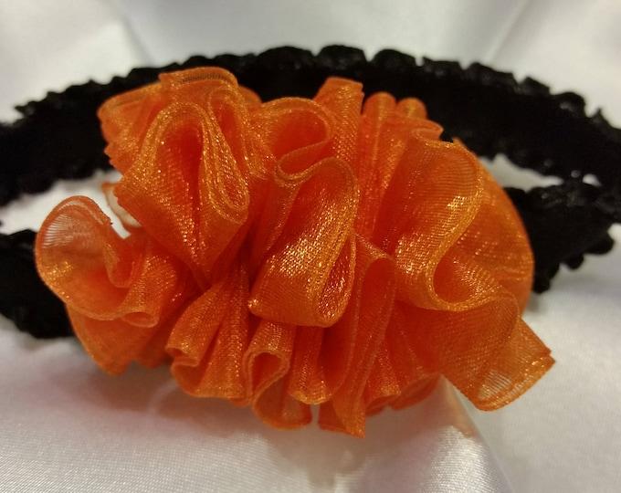 Newborn Baby Girls Preemie Orange and Black Headband