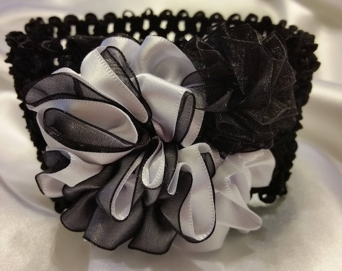 Newborn Baby Girls Black and White Princess Headband