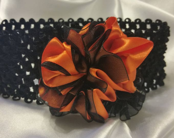 Newborn Baby Girls Orange and Black Headband