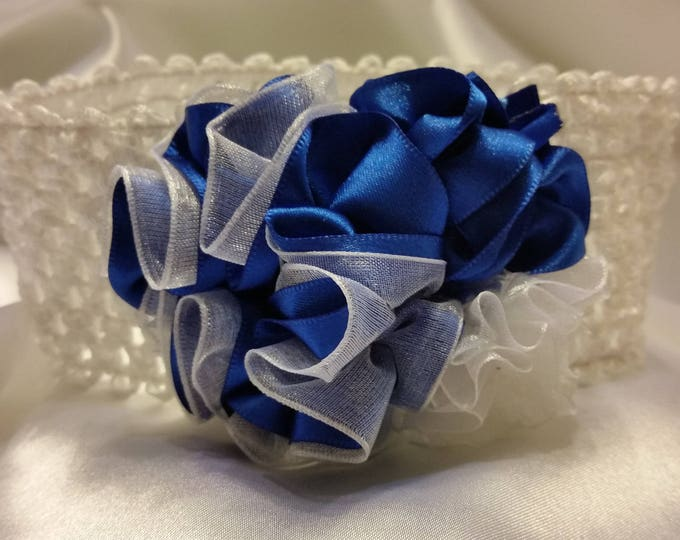 Newborn Baby Girls Royal Blue and White Princess Headband