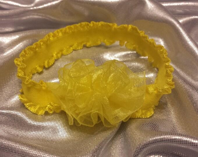 Newborn Baby Girls Preemie Lemon Yellow Sheer Headband