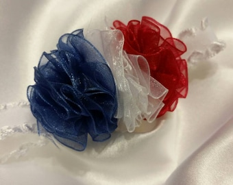 Newborn Baby Girls Preemie Red White and Blue USA Headband