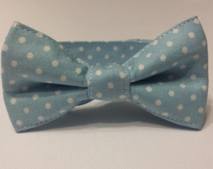 Boys Powder Blue with White Polka Dots Bowtie