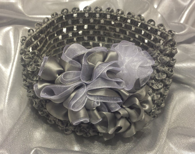 Baby Girls Princess Gray and White Sheer Headband