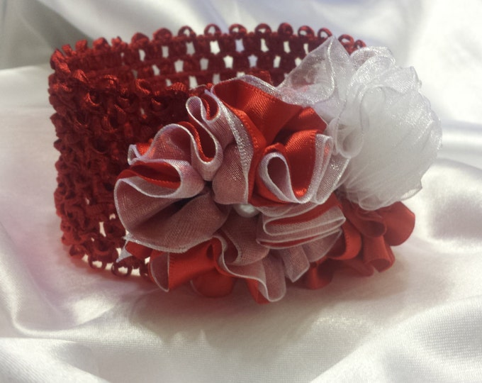 Newborn Baby Girls Princess  Red and White  Headband