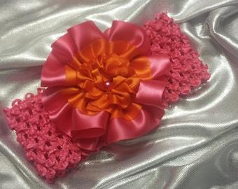 Girls Hot Pink and Orange Headband