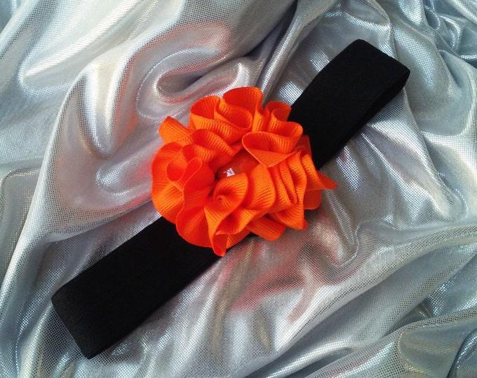 SALE Girls Azure Orange Headband with Orange Rhinestone