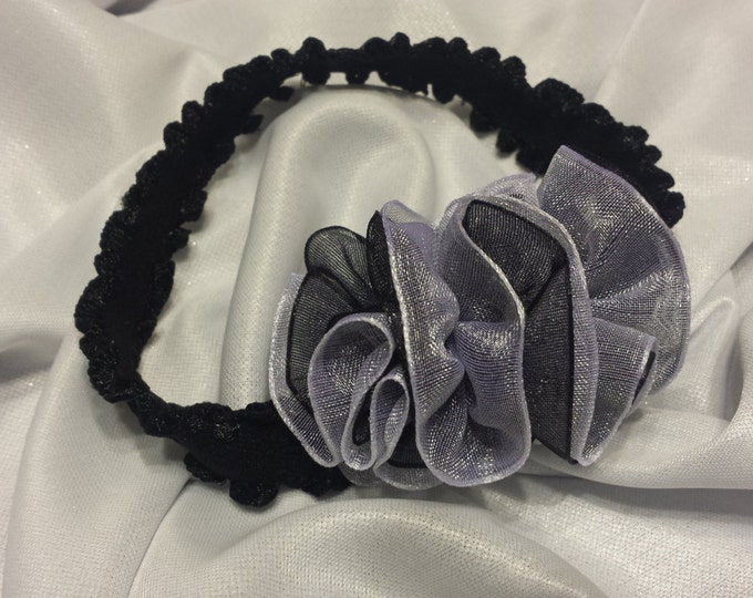 Newborn Baby Girls Preemie Black and White Sheer Headband
