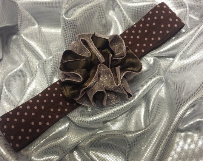 Girls Brown and Light Pink Polka Dot Headband