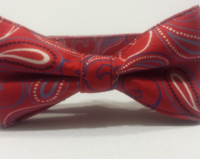 Boys Red White and Blue Paisley Bowtie