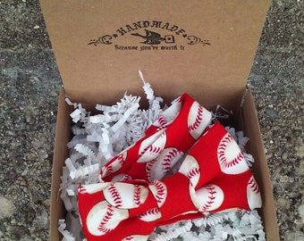 Boys Red and White Baseball Bowtie