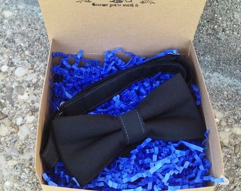 Mens Black Bowtie Trim in White