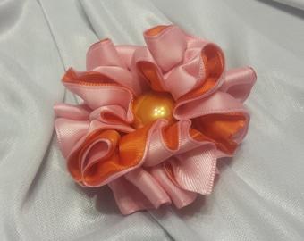 Girls Rose Pink and Orange Barrette