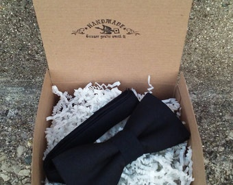 Mens Solid Black Bowtie