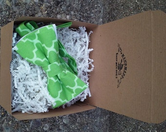 SALE ~ Mens Lime Green and White Bowtie