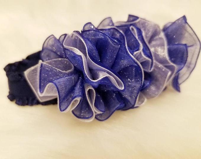 Newborn Baby Girls Preemie Navy Blue Sparkling and White Sheer Headband