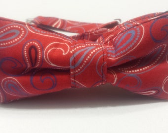 SALE ~ Men's Red Black and White Paisley Bowtie