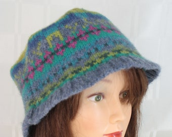 Upcycled Felted Lambswool Bucket Hat Cap Multi-Color Large Made from Recycled Sweaters