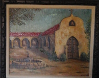 Signed original oil painting old mission