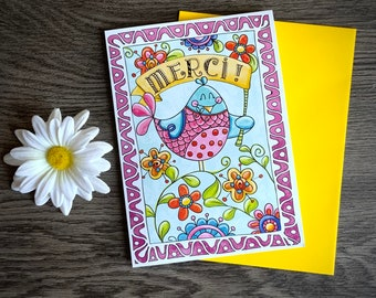 Cards thank you, bird, thanks, garden, flowers