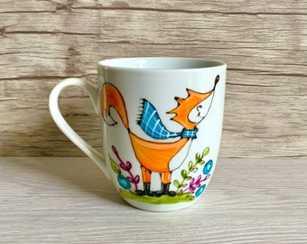small porcelain coffee cup with scarf fox, autumn