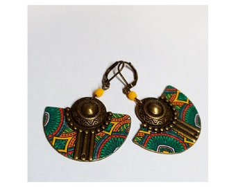 colorful earrings, ethnic inspiration, yellow buckles, jewelry made in France