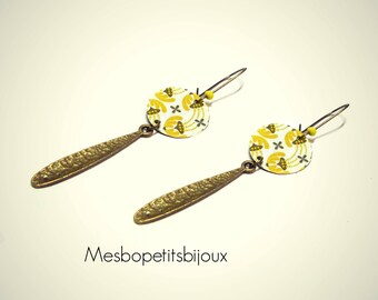 long earrings sequin yellow