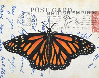 Watercolour and ink Viceroy Butterfly on a genuine vintage postcard- Original painting/drawing