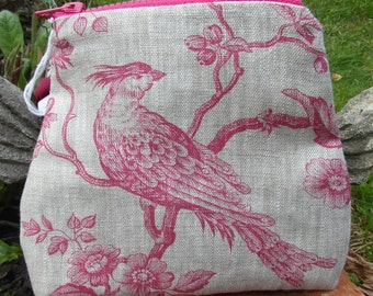 Zipped Pouch in linen toile, Liberty print lining