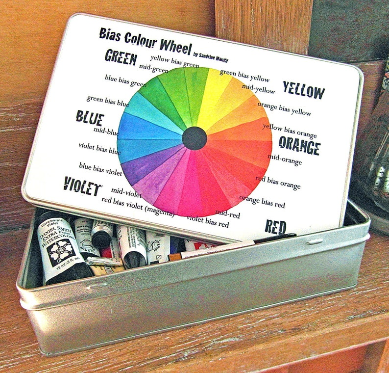Tin for watercolour tubes or art supplies  Bias colour wheel image 0