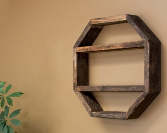 Octagon Hanging Shelf Wood Geometric Rustic Reclaimed Wall Display Boho Decor Kitchen