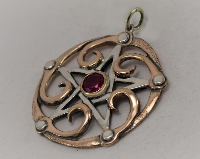 Featured listing image: 1.4 inch Pentacle with Fibonacci Spirals and Rivets Handcrafted in Sterling Silver and 14K Gold