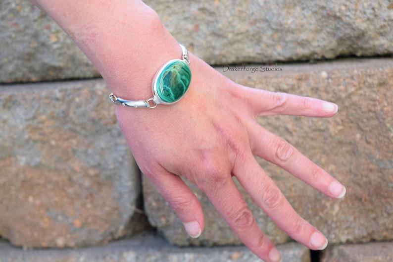Sterling Silver Bracelet with bezel set Malachite and flush set Cubic Zirconia