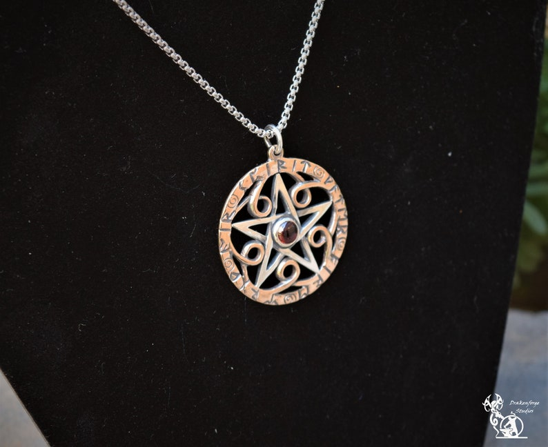 Handmade 1.5 inch Inscribed Sterling Silver Pentacle with Runic Band and Swirl Elements and 6mm Cabochon Stone