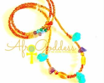 Orange, Gold, Chakra Crystals multicolored Chunky WaistBead Womb Bead Fertility beads strand with crystals & semi precious stones