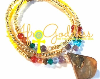 Yellow, Gold Chakra Crystals multicolored Chunky WaistBead Womb Bead Fertility beads strand with crystals & semi precious stones