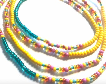 Amazonite and Citrine Crystals Chunky WaistBead Womb Bead Fertility beads strand with crystals /& semi precious stones