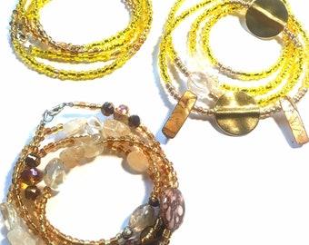 Set of three Yellow, Gold, Citrine Quartz Crystal, Brass, and Shell Chunky WaistBead Womb Bead Fertility beads strands