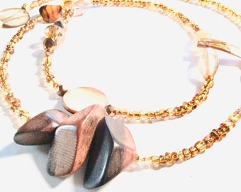 Gold, Wood and Shell Chunky WaistBead Womb Bead Fertility beads strand with crystals and semi precious stones