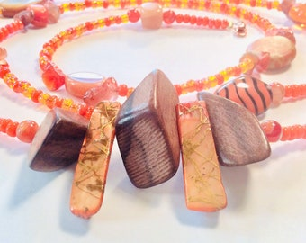 Fire Agate, Orange, Wood and Shell Chunky WaistBead Womb Bead Fertility beads strand with crystals and semi precious stones.