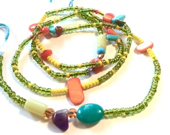 Chunky Grass Green and Yellow with Turquoise WaistBead Womb Bead Fertility beads strand with crystals and semi precious stones