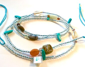 Sea blue and Clear with Turquoise  WaistBead Womb Bead Fertility beads strand with crystals and semi precious stones