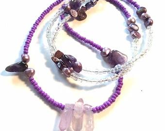 Purple, Lavender, Amethyst, Clear Quartz, Shell, Goddess Oya WaistBead Luxury Womb Bead Fertility beads Womb Wellness strand