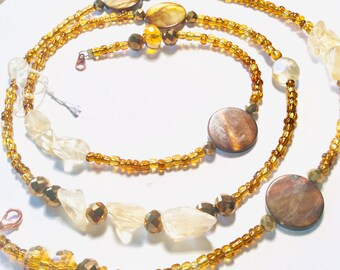 Gold, Citrine Quartz Crystal and Shell Chunky WaistBead Womb Bead Fertility beads strand with crystals and semi precious stones