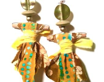 Yellow, Brass, Batik EgungunDolls, Batik Doll Eardangles, Fabric Earrings, One of a kind, Summer Collection, African, Tribal, AfroGoddess,