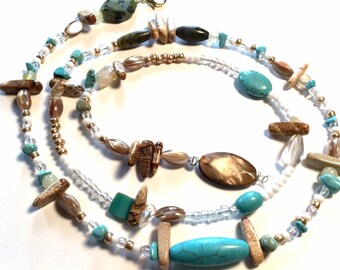 Turquoise, Jasper and shell WaistBead Womb Bead Fertility Beads Belly Chain strand with crystals and semi precious stones