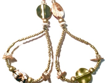 Golden, Beaded, Goddess, Eardangle, Summer, Collection 2018, African, Jewelry,